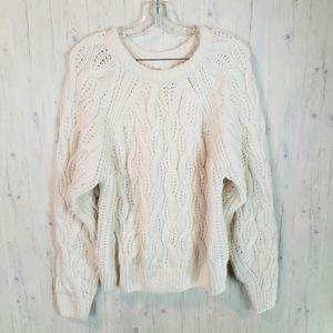 H&M Winter White Cable Knit Pullover Sweater M